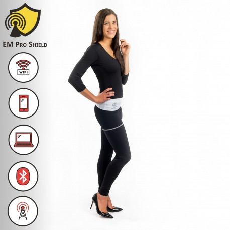 Angelica Long Yoga Pants - Leggings Woman Black-White - Protection against harmful Electromagnetic Waves & Mobile - OnyxPro - EM