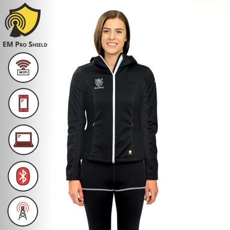 Laurus  Multifunctional Hoody Jacket Woman Black - Protection against harmful Electromagnetic Waves & mobile - OnyxPro - EM Pro