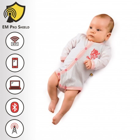 Aurora Baby Body - Onesies Long Sleeve Baby Girl- Rosa - Protection against harmful Electromagnetic Waves & Mobile - OnyxPro - E