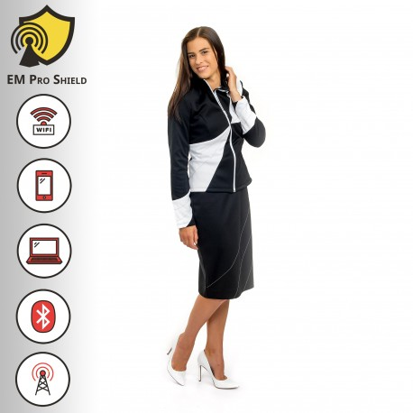 Acacia-Rosea Design-Jacket Woman Black - Protection against harmful Electromagnetic Waves & Mobile - OnyxPro - EM Pro Shield